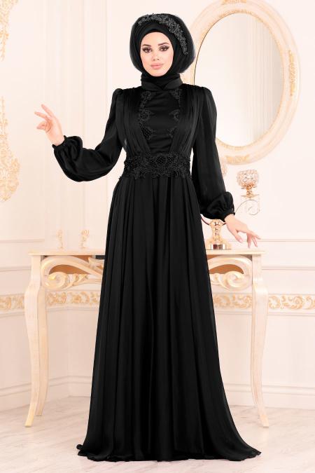 Tesettürlü Abiye Elbise - Boncuk Detaylı Siyah Tesettürlü Abiye Elbise 37331S