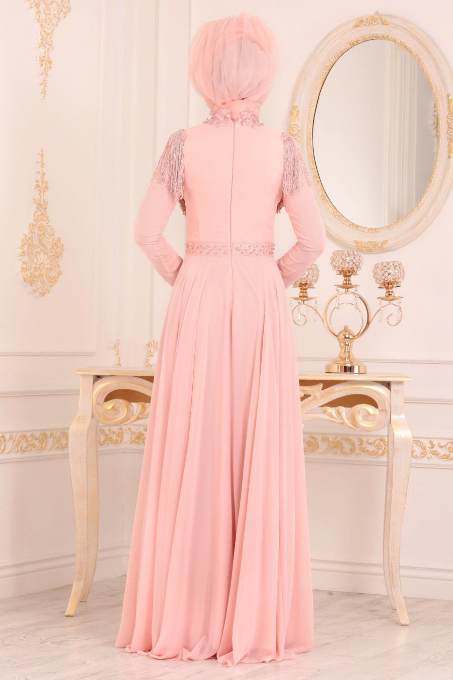 Tesettürlü Abiye Elbise - Boncuk Detaylı Somon Tesettür Abiye Elbise 20901SMN