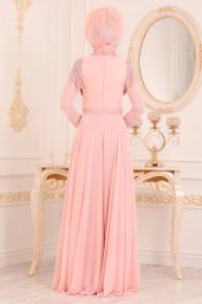 Tesettürlü Abiye Elbise - Boncuk Detaylı Somon Tesettür Abiye Elbise 20901SMN - Thumbnail