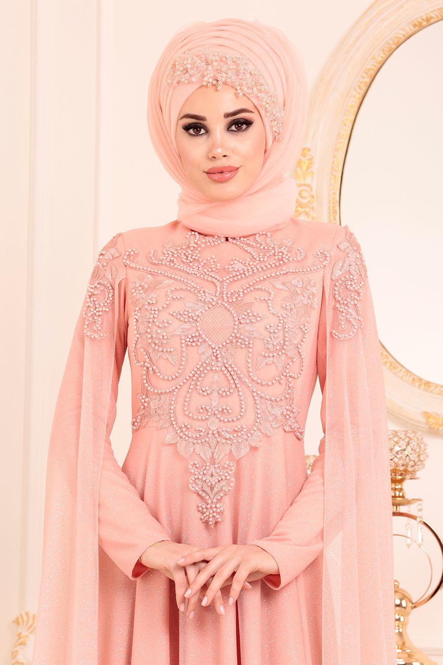 Tesettürlü Abiye Elbise - Boncuk Detaylı Somon Tesettür Abiye Elbise 2093SMN