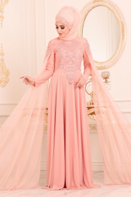 Tesettürlü Abiye Elbise - Boncuk Detaylı Somon Tesettür Abiye Elbise 2093SMN - Thumbnail