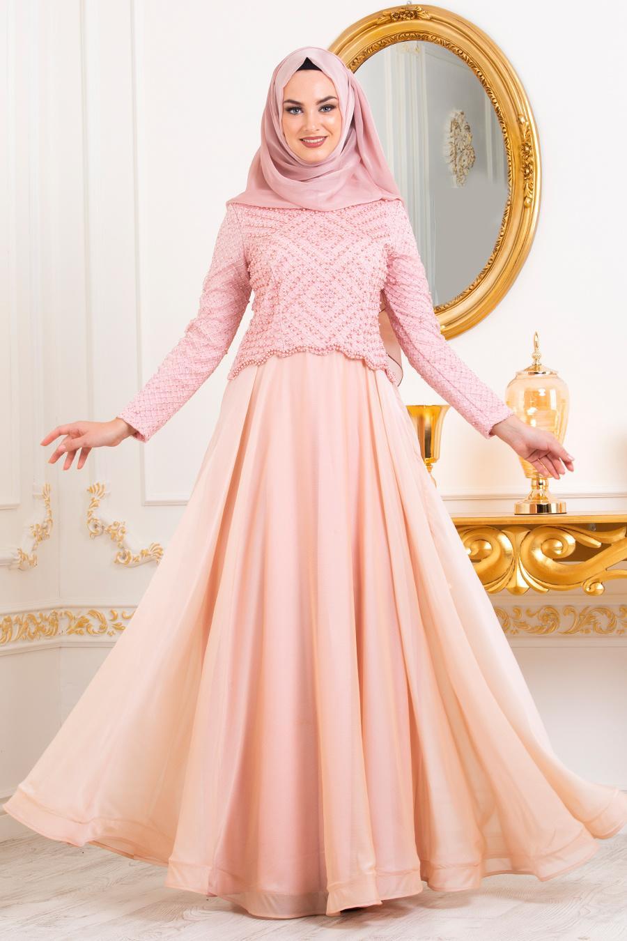 Tesettürlü Abiye Elbise - Boncuk Detaylı Somon Tesettür Abiye Elbise 31260SMN