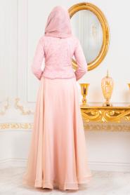 Tesettürlü Abiye Elbise - Boncuk Detaylı Somon Tesettür Abiye Elbise 31260SMN - Thumbnail