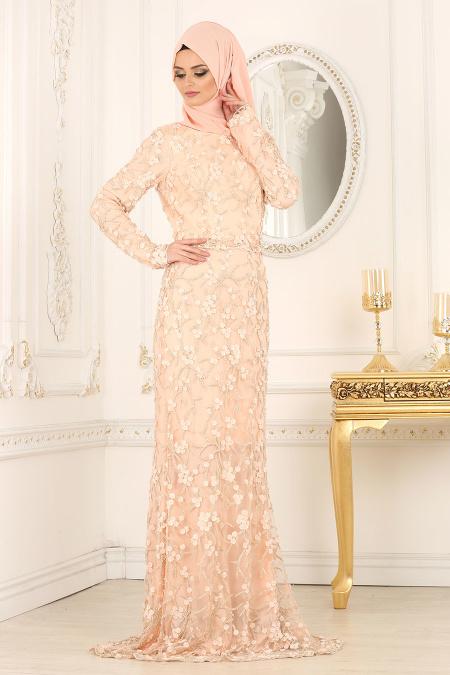 Tesettürlü Abiye Elbise - Boncuk Detaylı Somon Tesettürlü Abiye Elbise 4494SMN