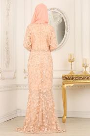 Tesettürlü Abiye Elbise - Boncuk Detaylı Somon Tesettürlü Abiye Elbise 4494SMN - Thumbnail