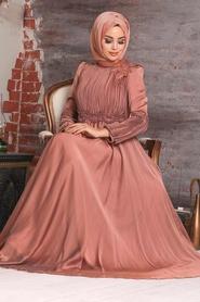 Tesettürlü Abiye Elbise - Boncuk İşlemeli Bakır Tesettür Abiye Elbise 2170BKR - Thumbnail