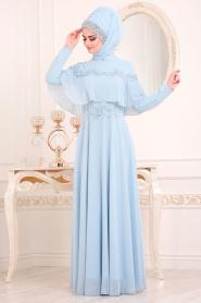 Tesettürlü Abiye Elbise - Boncuk İşlemeli Bebek Mavisi Tesettür Abiye Elbise 36640BM - Thumbnail