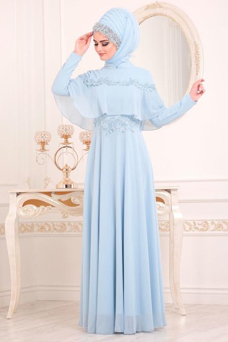 Tesettürlü Abiye Elbise - Boncuk İşlemeli Bebek Mavisi Tesettür Abiye Elbise 36640BM