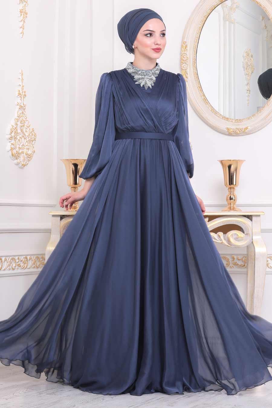 Tesettürlü Abiye Elbise - Boncuk İşlemeli İndigo Mavisi Tesettür Abiye Elbise 40550IM