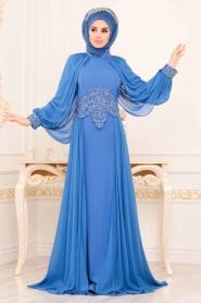 Tesettürlü Abiye Elbise - Boncuk İşlemeli İndigo Mavisi Tesettür Abiye Elbise 46230IM - Thumbnail