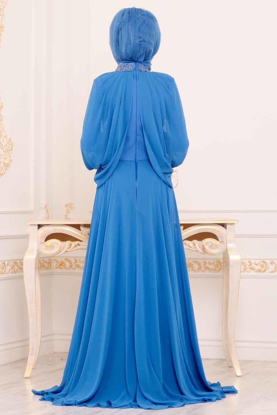 Tesettürlü Abiye Elbise - Boncuk İşlemeli İndigo Mavisi Tesettür Abiye Elbise 46230IM