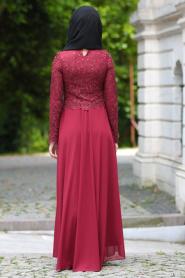 Tesettürlü Abiye Elbise - Boncuklu Dantel Detaylı Bordo Tesettür Abiye Elbise 7650BR - Thumbnail