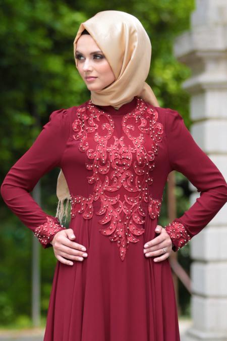 Tesettürlü Abiye Elbise - Boncuklu Dantel Detaylı Bordo Tesettür Abiye Elbise 7650BR