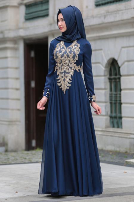 Tesettürlü Abiye Elbise - Boncuklu Dantel Detaylı Lacivert Tesettür Abiye Elbise 7650L