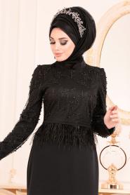 Tesettürlü Abiye Elbise - Boncuklu Tüy Detaylı Siyah Tesettür Abiye Elbise 36361S - Thumbnail