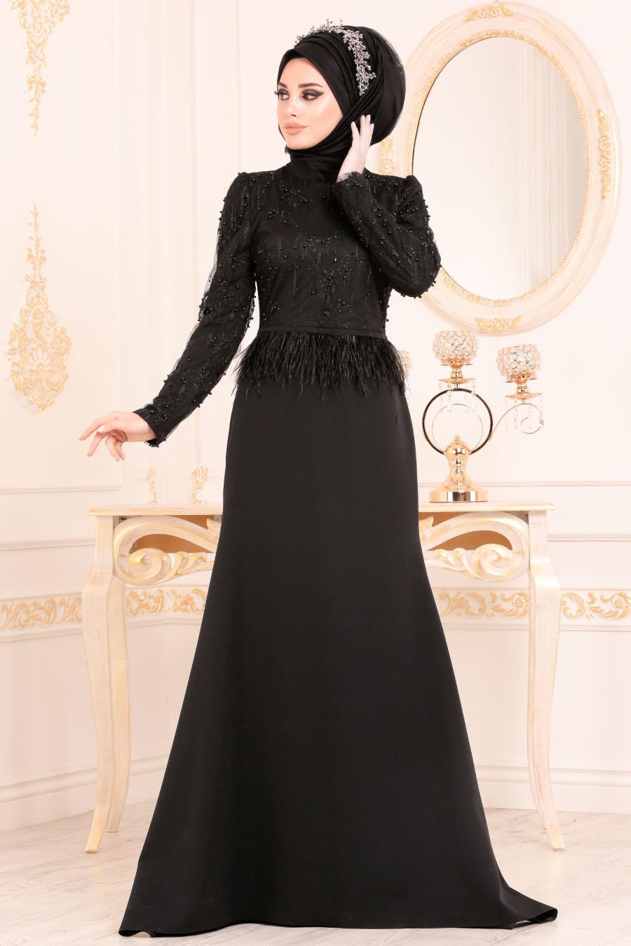 Tesettürlü Abiye Elbise - Boncuklu Tüy Detaylı Siyah Tesettür Abiye Elbise 36361S