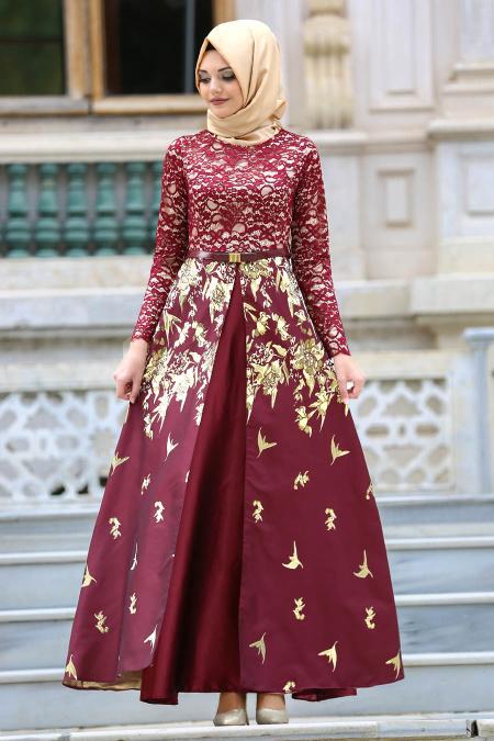 Tesettürlü Abiye Elbise - Bordo Jakarlı Tesettür Abiye Elbise 82443BR