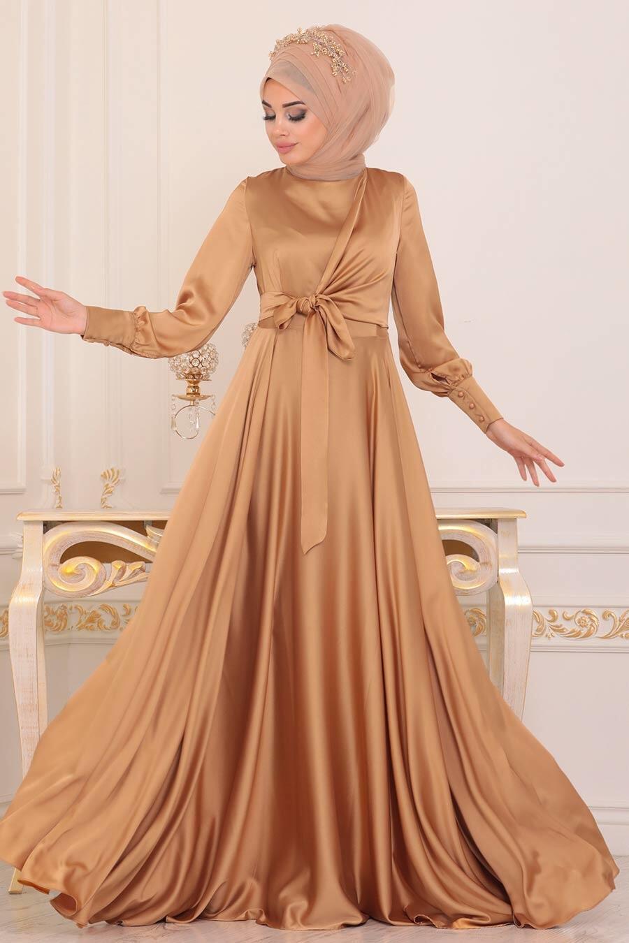 Tesettürlü Abiye Elbise - Krep Saten Bisküvi Tesettür Abiye Elbise 1420BS