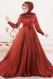 Tesettürlü Abiye Elbise - Krep Saten Kiremit Tesettür Abiye Elbise 1420KRMT - Thumbnail
