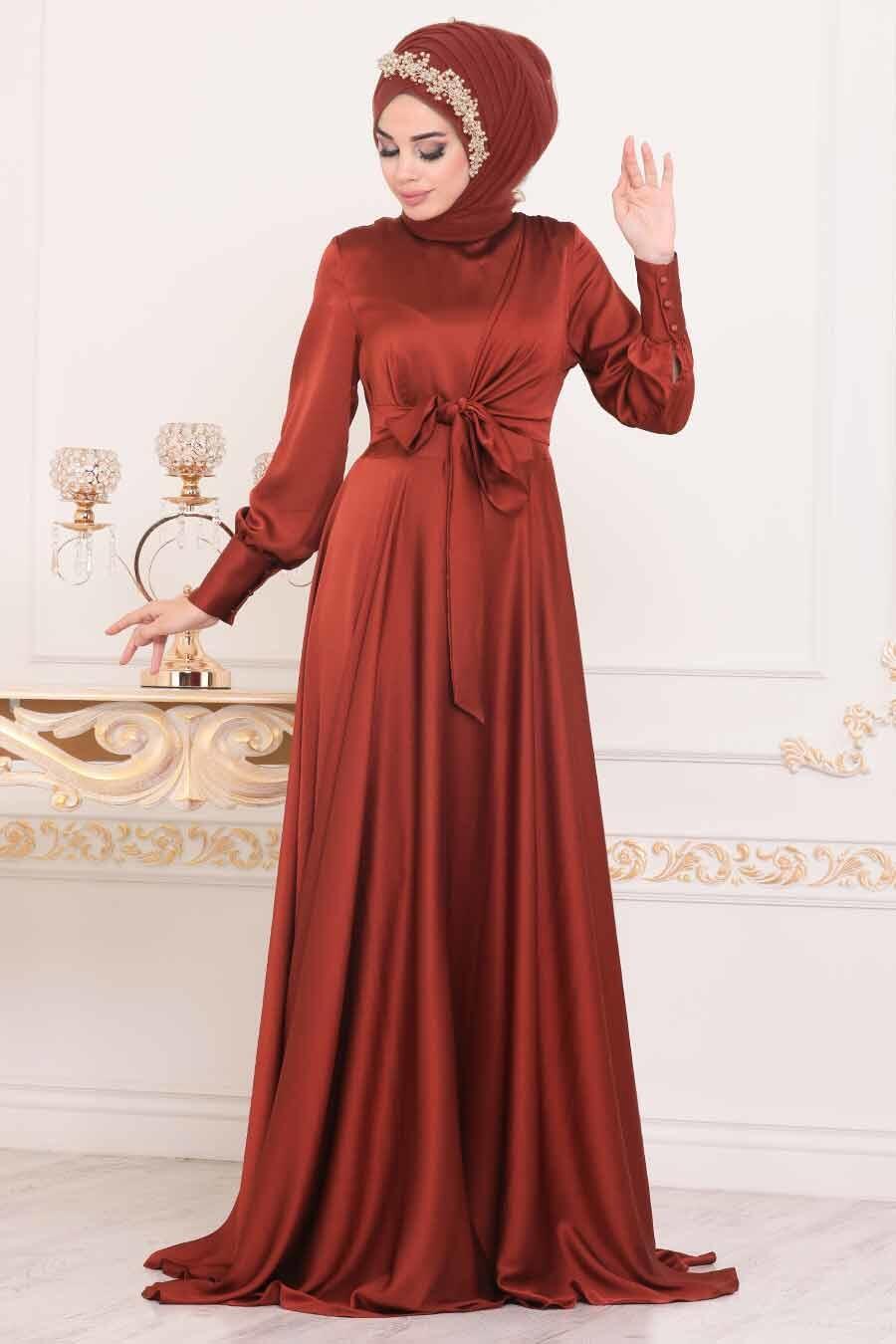 Tesettürlü Abiye Elbise - Krep Saten Kiremit Tesettür Abiye Elbise 1420KRMT