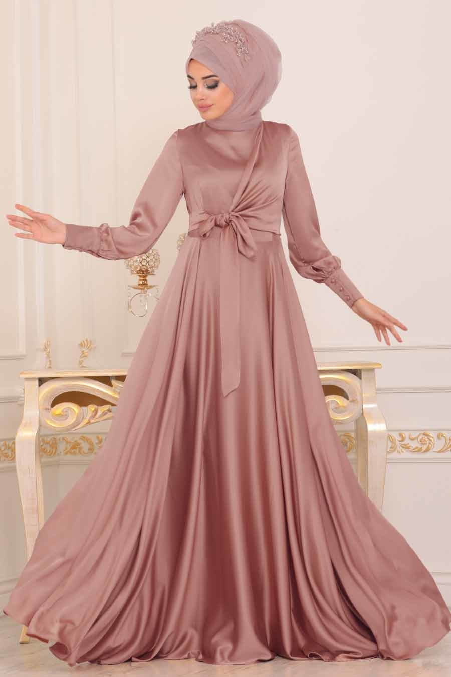 Tesettürlü Abiye Elbise - Krep Saten Pudra Tesettür Abiye Elbise 1420PD