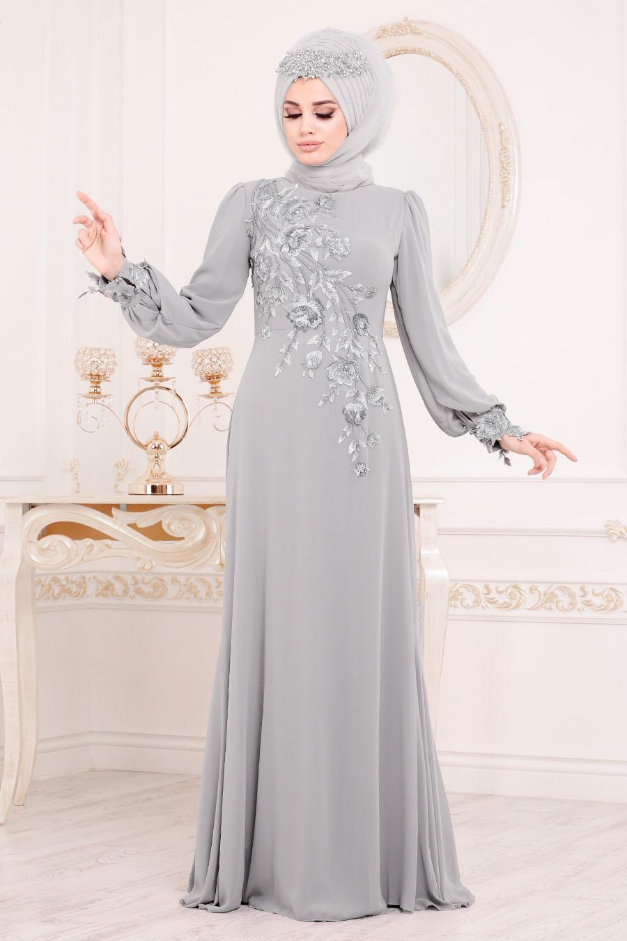 Tesettürlü Abiye Elbise - Çiçek Desenli Gri Tesettür Abiye Elbise 37850GR
