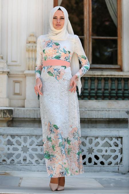 Tesettürlü Abiye Elbise - Çiçek Desenli Pudra Tesettür Abiye Elbise 7649PD