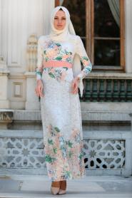 Tesettürlü Abiye Elbise - Çiçek Desenli Pudra Tesettür Abiye Elbise 7649PD - Thumbnail