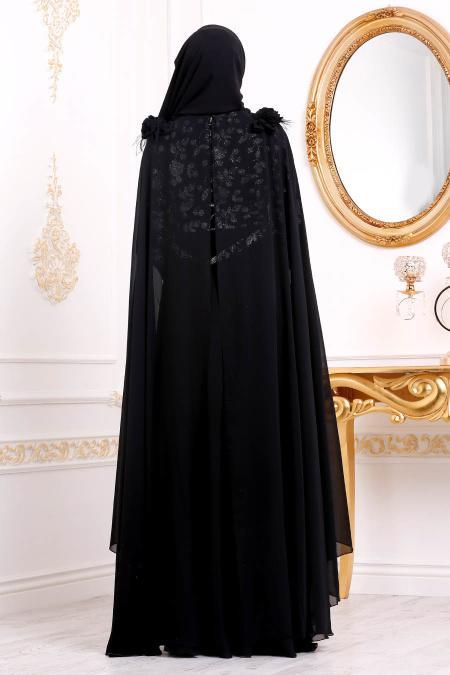 Tesettürlü Abiye Elbise - Çiçek Desenli Siyah Tesettürlü Abiye Elbise 3285S
