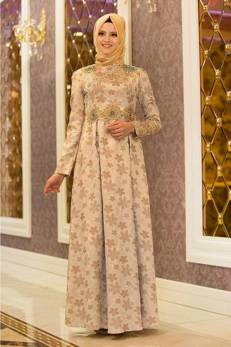 Tesettürlü Abiye Elbise - Çiçek Desenli Vizon Tesettür Abiye Elbise 7348V
