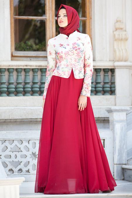 Tesettürlü Abiye Elbise - Çiçek Detaylı Bordo Elbise