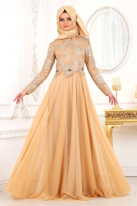 Tesettürlü Abiye Elbise - Çiçek Detaylı Gold Tesettür Abiye Elbise 2009GOLD