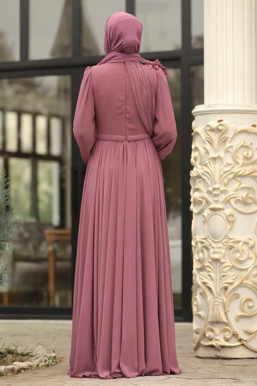 Tesettürlü Abiye Elbise - Çiçek Detaylı Gül Kurusu Tesettürlü Abiye Elbise 3991GK