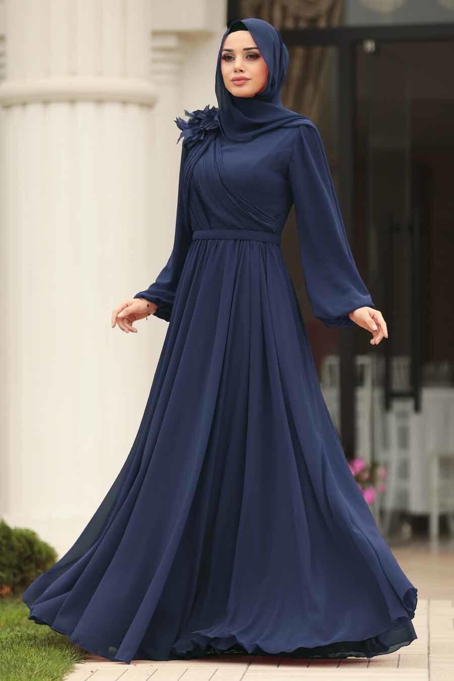 Tesettürlü Abiye Elbise - Çiçek Detaylı İndigo Mavisi Tesettürlü Abiye Elbise 3991IM