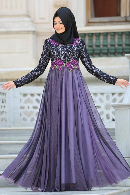 Tesettürlü Abiye Elbise - Çiçek Detaylı Lila Tesettürlü Abiye Elbise 7531LILA