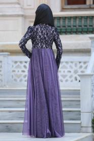 Tesettürlü Abiye Elbise - Çiçek Detaylı Lila Tesettürlü Abiye Elbise 7531LILA - Thumbnail