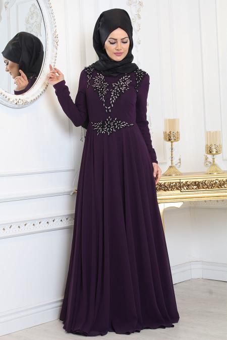 Tesettürlü Abiye Elbise - Çiçek Detaylı Mor Tesettür Abiye Elbise 8000MOR