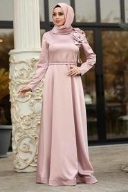 Tesettürlü Abiye Elbise - Çiçek Detaylı Pudra Tesettür Abiye Elbise 39620PD - Thumbnail