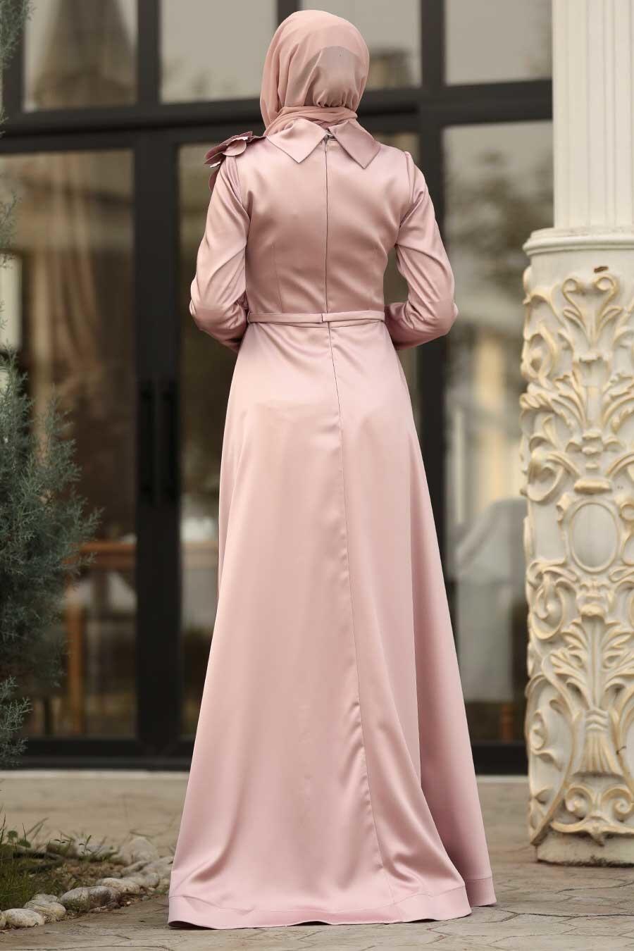 Tesettürlü Abiye Elbise - Çiçek Detaylı Pudra Tesettür Abiye Elbise 39620PD