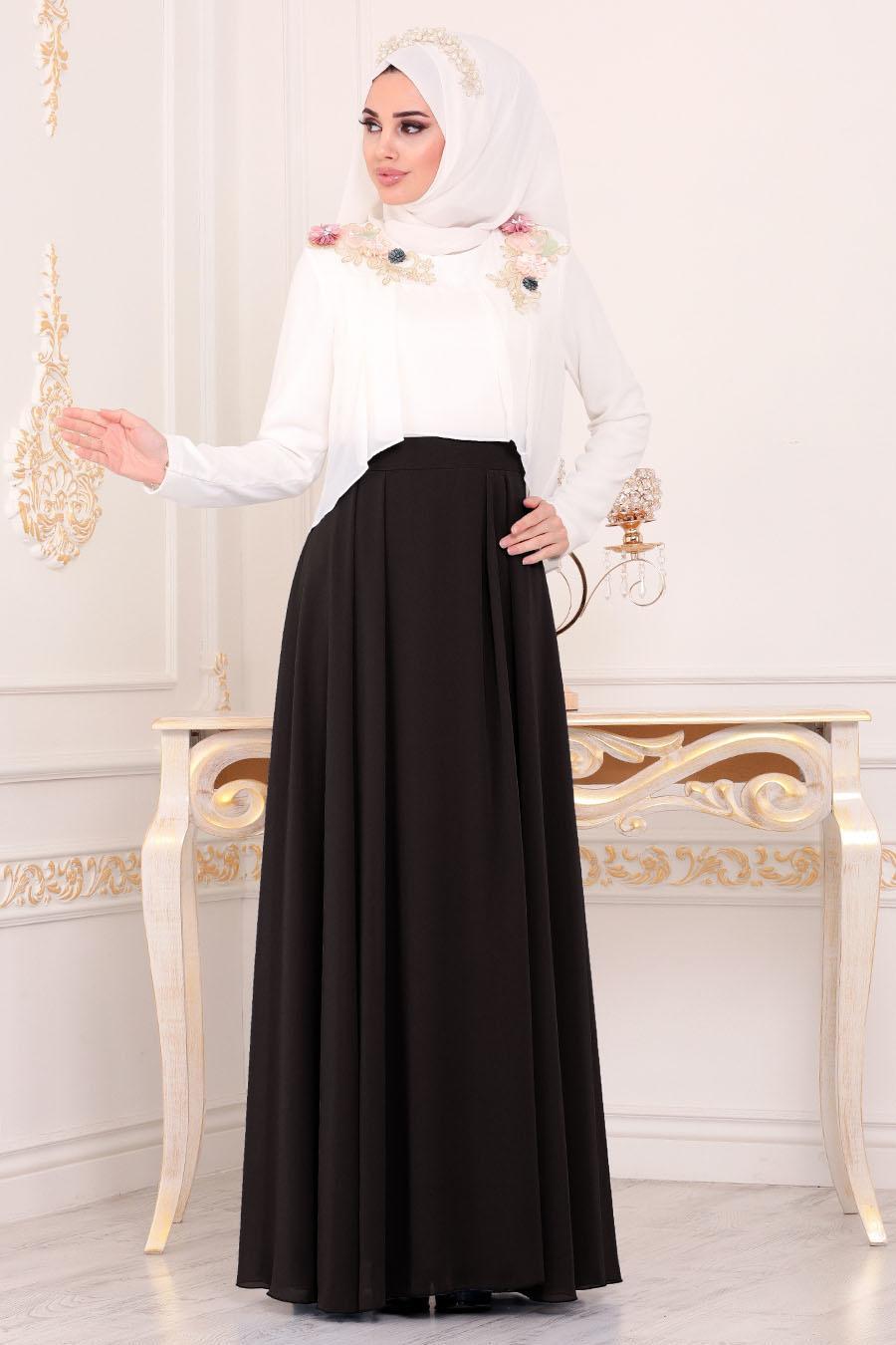 Tesettürlü Abiye Elbise - Çiçek Detaylı Siyah Tesettürlü Abiye Elbise 8619S