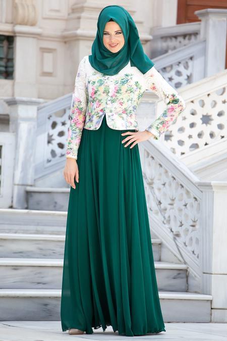 Tesettürlü Abiye Elbise - Çiçek Detaylı Yeşil Elbise