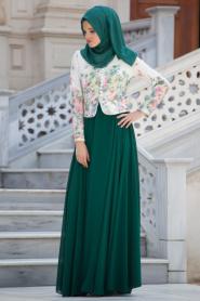 Tesettürlü Abiye Elbise - Çiçek Detaylı Yeşil Elbise - Thumbnail