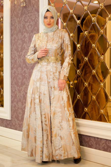 Tesettürlü Abiye Elbise - Çiçek Kemerli Vizon Abiye Elbise
