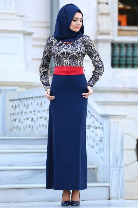 Tesettürlü Abiye Elbise - Çini Desenli Lacivert Tesettür Abiye Elbise 20344L