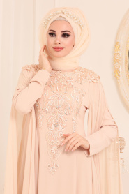Tesettürlü Abiye Elbise - Dantel Detaylı Bej Tesettür Abiye Elbise 3041BEJ - Thumbnail