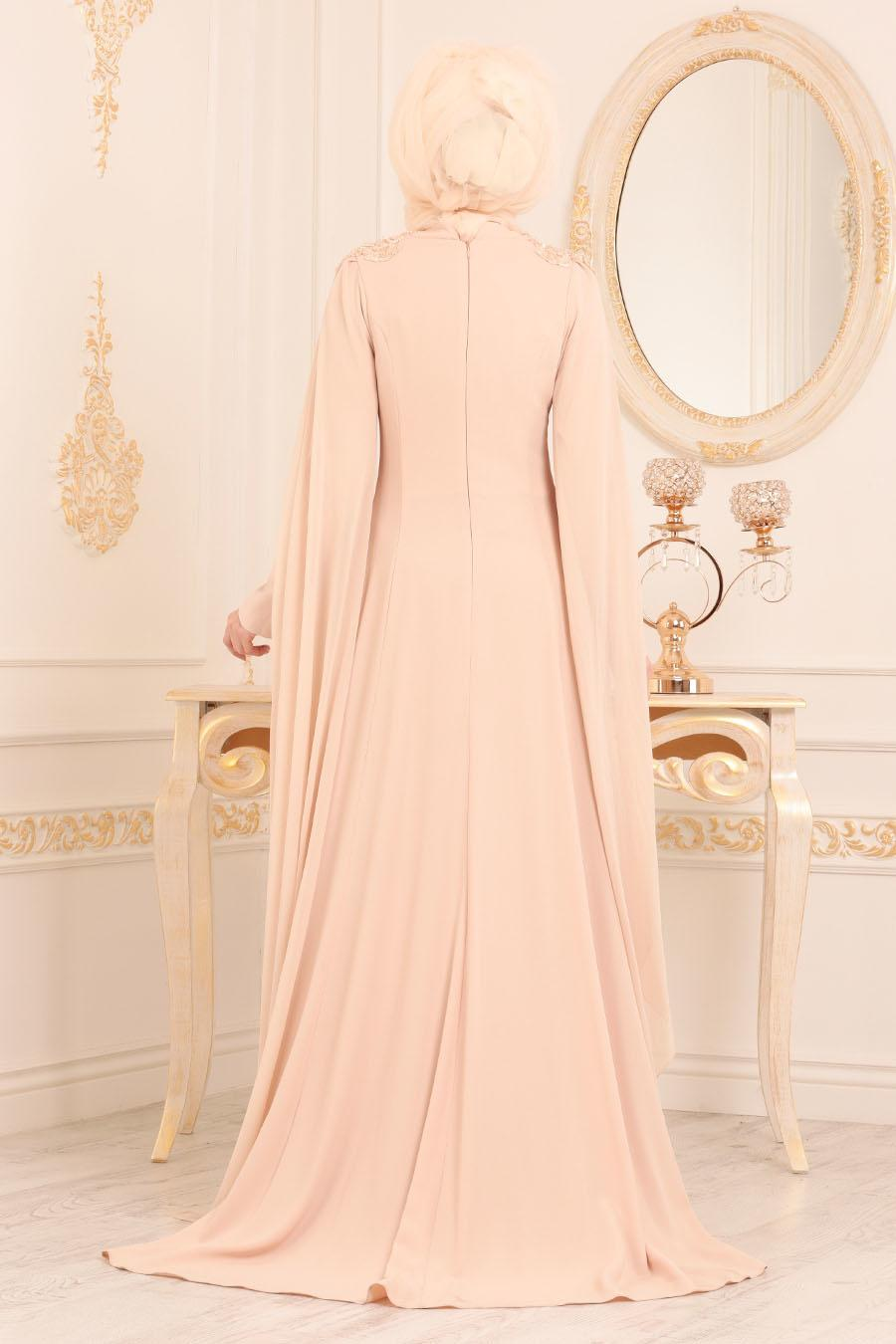Tesettürlü Abiye Elbise - Dantel Detaylı Bej Tesettür Abiye Elbise 3041BEJ