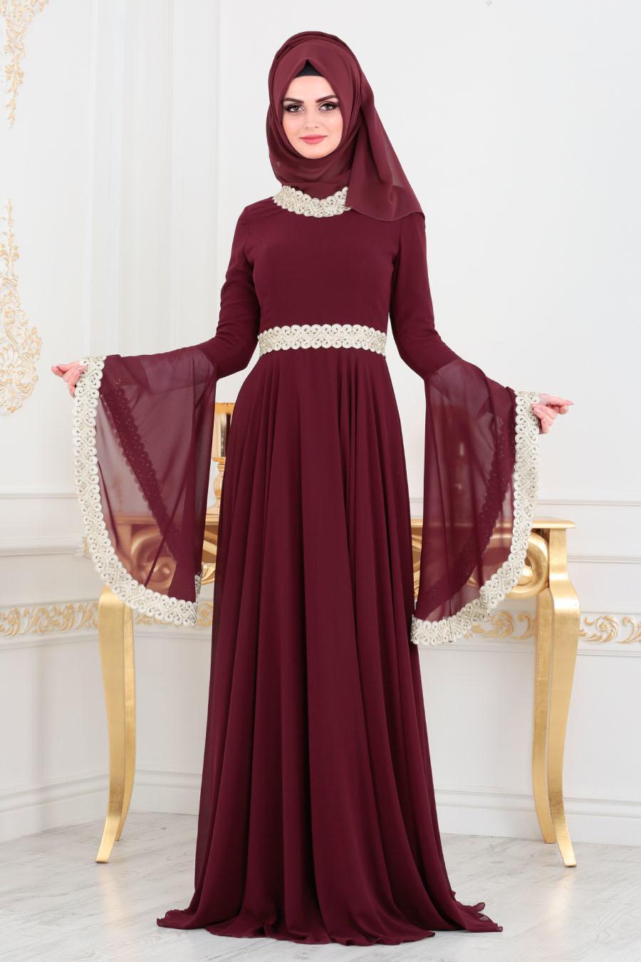 Tesettürlü Abiye Elbise - Dantel Detaylı Bordo Tesettür Abiye Elbise 2027BR