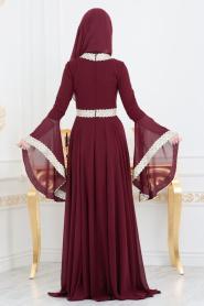 Tesettürlü Abiye Elbise - Dantel Detaylı Bordo Tesettür Abiye Elbise 2027BR - Thumbnail