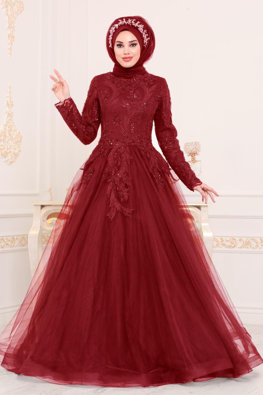 Tesettürlü Abiye Elbise - Dantel Detaylı Bordo Tesettür Abiye Elbise 4689BR