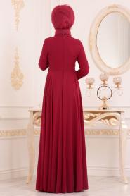Tesettürlü Abiye Elbise - Dantel Detaylı Bordo Tesettür Abiye Elbise 84701BR - Thumbnail